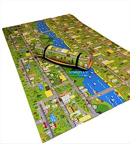 Квадратний дитячий килимок «Паркове містечко» розмір 1200х1200х11 мм. Термо розвиваючий ігровий килимок