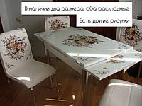 """Розкладний стіл обідній кухонний комплект стіл і стільці 3D малюнок 3д """"Контрастний букет"""" ДСП скло 70*110 Mobilgen 1014/189, фото 1"""