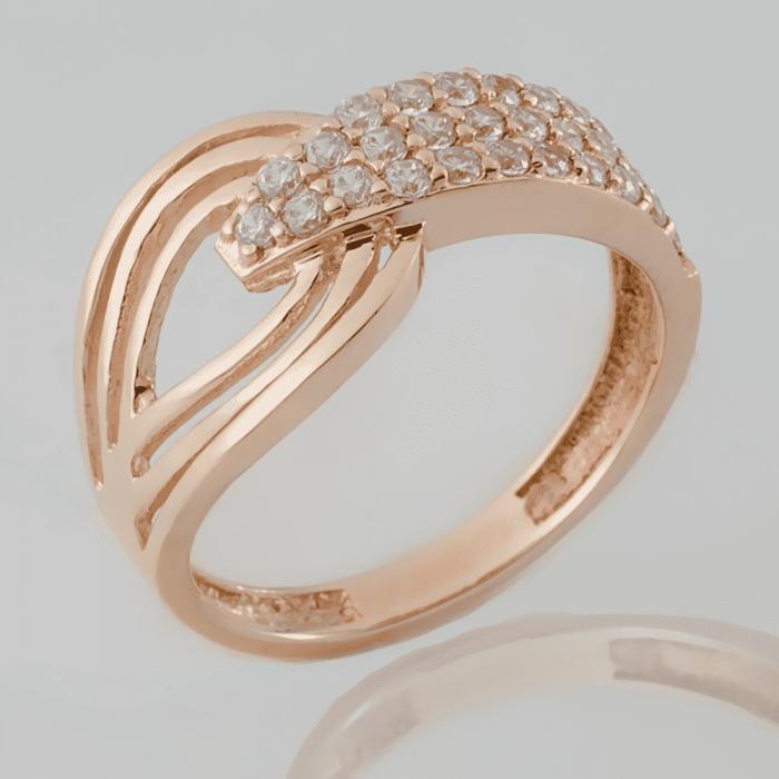 Золотое кольцо змея с фианитами. КП1636