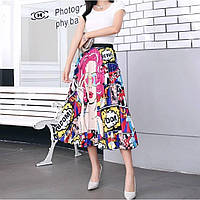 Яркая, модная плиссированная юбка