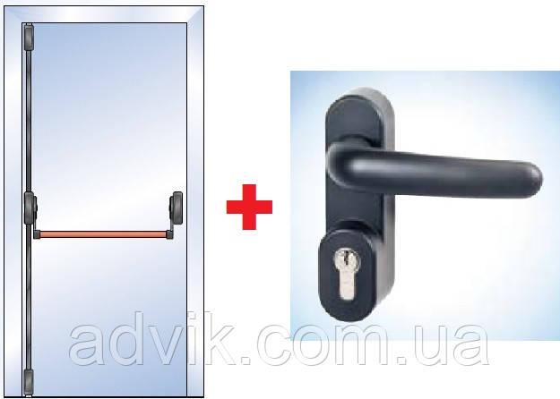 Антипаніка G-U для 1-стулкових дверей з вертикальним 2-точковим замиканням з зовнішньою ручкою