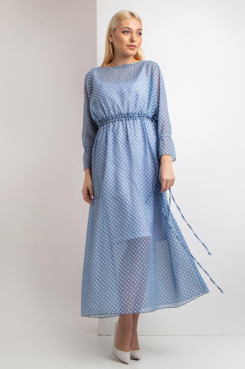 Платье Garne ENTONY в белый горох 3XL Голубой (3035099-5)