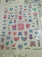 Наклейки для дизайна ногтей Мишки Тедди Teddy, фото 1