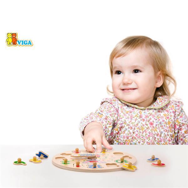 Деревянная рамка-вкладыш Viga Toys Часы (56171)