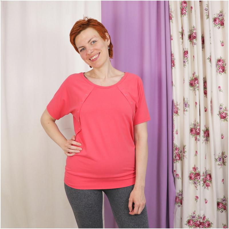 Футболка для беременных и кормящих ГРУДНИЧОК «Настурция» (размер 44)