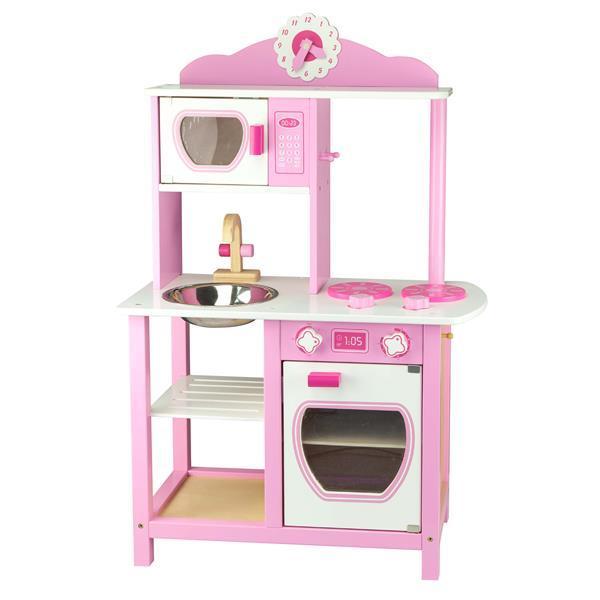 Дитяча кухня Viga Toys з дерева, біло-рожева (50111)