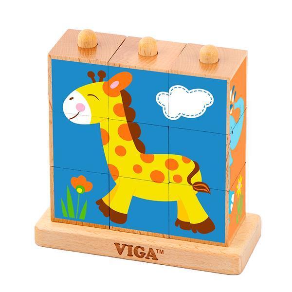Деревянные кубики-пирамидка Viga Toys Зверята (50834)