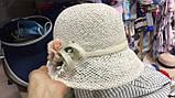 Женская  шляпа маленькие поля 6 см из рисовой соломки размер 55-59, фото 2
