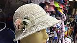 Женская  шляпа маленькие поля 6 см из рисовой соломки размер 55-59, фото 3