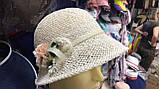 Женская  шляпа маленькие поля 6 см из рисовой соломки размер 55-59, фото 4