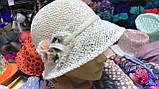 Женская  шляпа маленькие поля 6 см из рисовой соломки размер 55-59, фото 5
