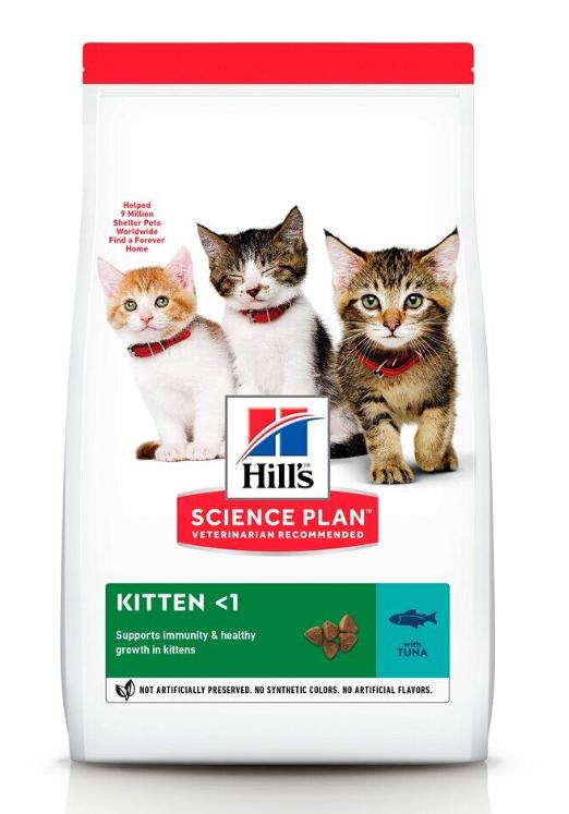Хиллс Hills SP Kitten Tn сбалансированный сухой корм с тунцом для котят и беременных кошек, 0,3 кг