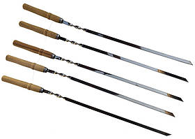 Шампур плоский толщина 2 мм, длина 55 см, ширина 11 мм с деревянной ручкой