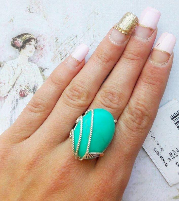 Серебряное кольцо с натуральной бирюзой Нота