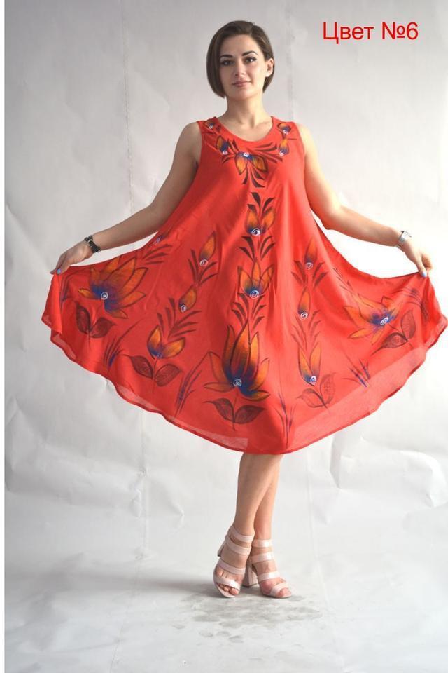 Летнее хлопковое платье-ламбада красного цвета свободный крой