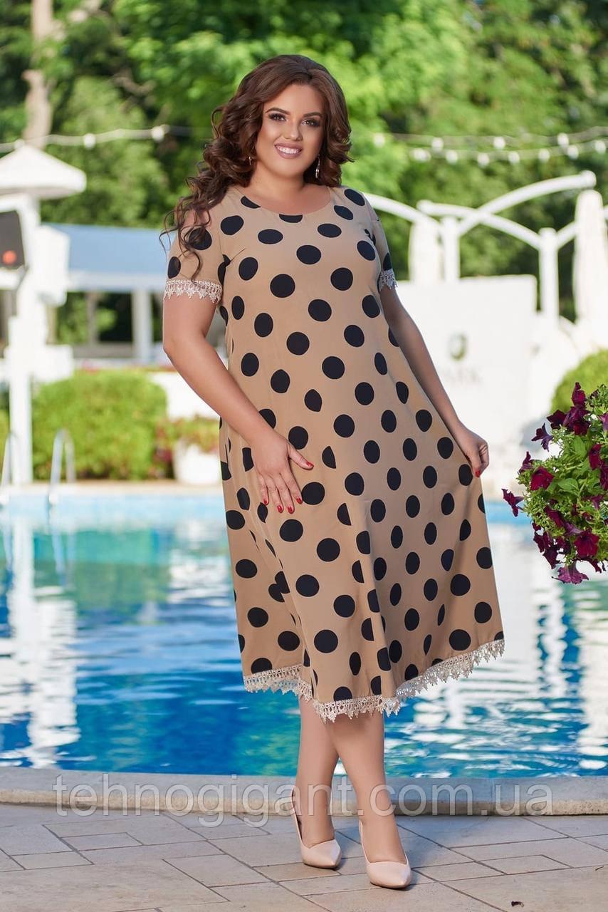 Женское летнее платье большого размера 50, 52, 54, 56, легкое, свободного кроя, с оголенными плечами в горох