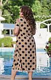 Женское летнее платье большого размера 50, 52, 54, 56, легкое, свободного кроя, с оголенными плечами в горох, фото 5