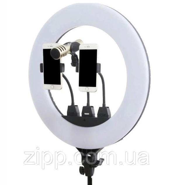 Кольцевая лампа LED F348 с пультом и микрофоном, 3 крепления для телефона 220V 45см