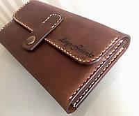 Кожаный кошелек ручной работы с именной гравировкой. Женский и мужской кожаный кошелек. Эксклюзивный подарок.