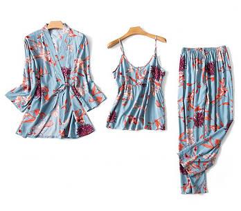 Комплект для сна, дома из 3 предметов. Пижама женская хлопковая с цветочным принтом  (голубая) XL