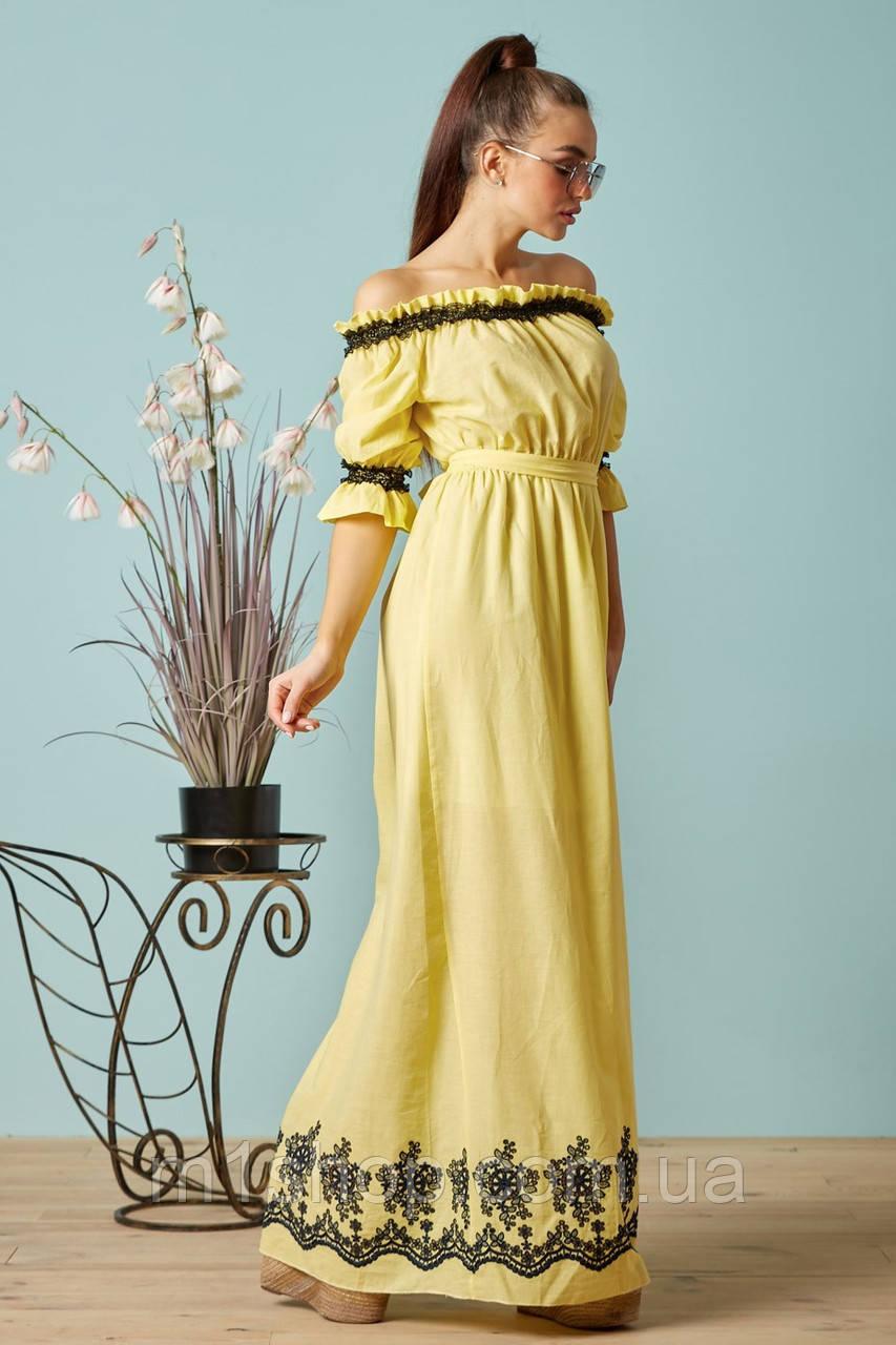 Батистовое летнее платье в пол с вышивкой (1404-1405-1406 svt)