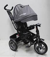 Детский велосипед трехколесный  для мальчика Crosser T-1 AIR Серый  пульт фара звуки 360 градусов сиденье