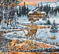 Набор для вышивания нитками LUCA-S Хижина в лесу (BU4022)