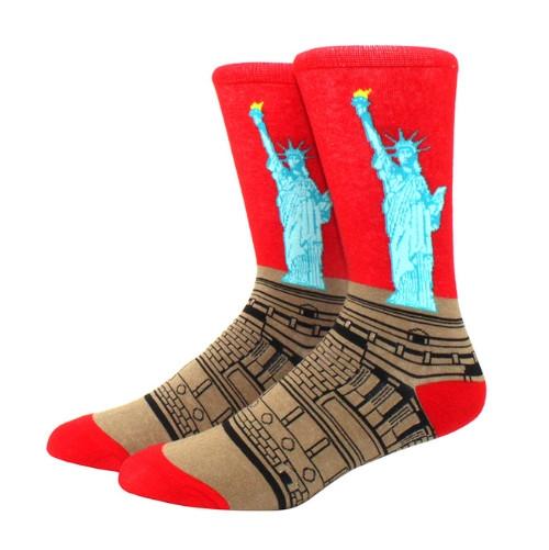 Прикольные высокие мужские носки с принтом Статуи свободы