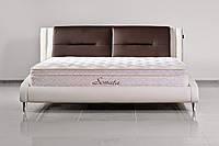 Кожаная двуспальная кровать Sonata Mobel B208 Молочный-венге, КОД: 1563992