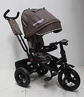 Детский велосипед трехколесный  для мальчика Azimut Crosser T-1 AIR коричневый  пульт фара звуки 360 градусов