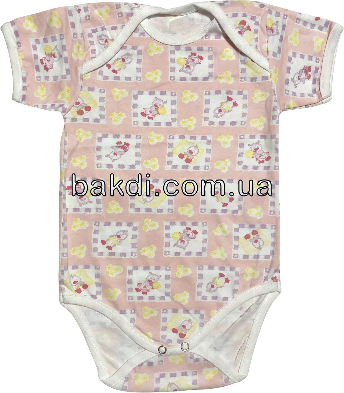 Детское летнее тонкое боди рост 68 3-6 мес хлопковое кулир розовое на девочку бодик с коротким рукавом для новорожденных малышей У401