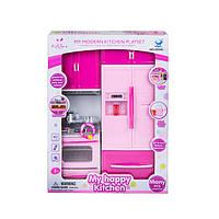 Детская кухня для кукол с холодильником «My happy kitchen» 66045 со световыми и звуковыми эффектами, розовая