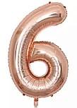 Фольгированная цифра 6 розовое золото слим 100 см  Китай