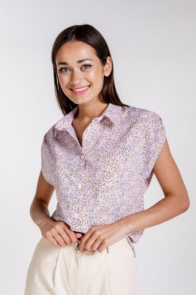 Женская рубашка с коротким рукавом (Розовый)