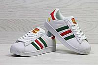 Кроссовки женские белые с красным и зеленым Adidas Superstar 5450