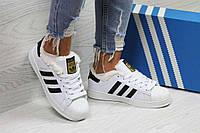 Кроссовки женские белые с черными полосками Adidas Superstar 6362