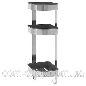 Настенный полочный модуль IKEA в ванную комнату, полка, стеллаж, угловой, нержавеющая сталь, 19x58 см