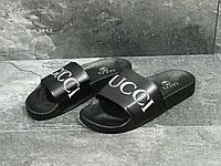 Шлепки мужские черные Gucci 5442