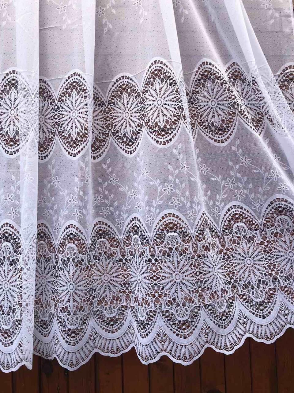 Тюль готовая пошитая с тесьмой белая с тройным кружевом 190х295 код 01488
