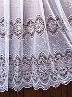 Тюль готовая пошитая с тесьмой белая с тройным кружевом 190х295 код 01488, фото 1