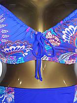 Купальник стяжка съемный поролон Sisianna 59916 ярко-синий на 50 52 54 размер, фото 3