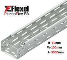 Лоток перфорированный, оцинкованный 100x80x3000x0,6 мм Plechoflex FB