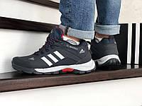 Мужские зимние кроссовки темно синие с белым Adidas Climaproof 754 8664