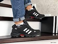 Мужские зимние кроссовки черно белые Adidas Climaproof 754 8661