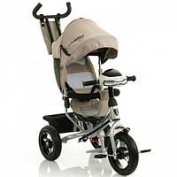 Детский велосипед трехколесный  для мальчика девочки Azimut Crosser T-1 AIR бежевый пульт фара звуки 360 град