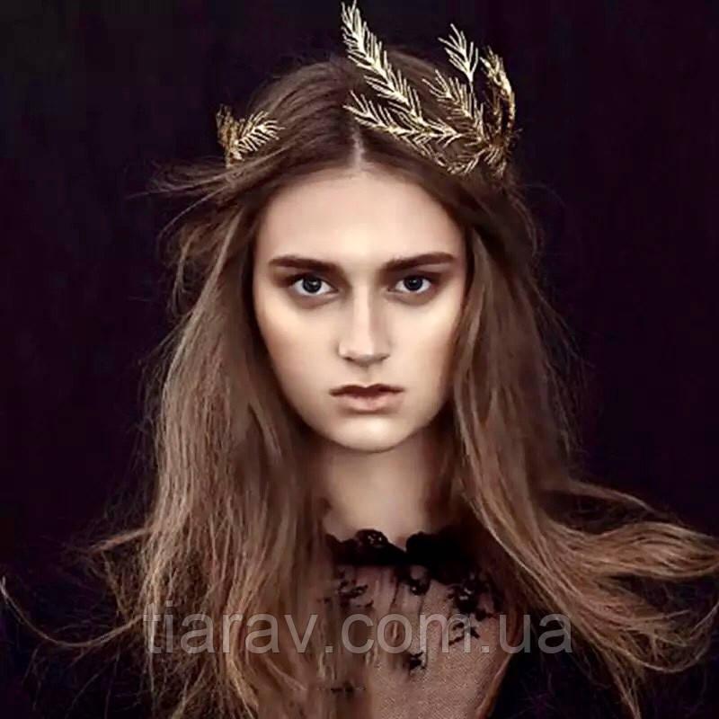 Тиара обруч золотой ВИЛЬЕН, ободок лавр, венок на голову