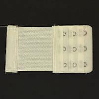 Расширитель - удлинитель для бюстгальтера на 3 крючка (в 3 ряда), шириной 5,5 см с резинкой белый (теплый)