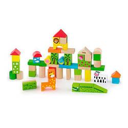 """Детский набор строительных блоков древянный """"Зоопарк"""" Viga Toys, 50 шт, 3 см"""
