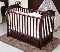Детская кроватка из бука с ящиком и маятниковым механизмом iLove Twins, коричневая