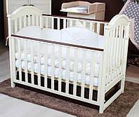 Детская кроватка из натурального дерева с ящиком и маятниковым механизмом iLove Twins, бежевая